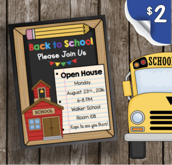Open House Invitation - EDITABLE - Back to School - Meet t