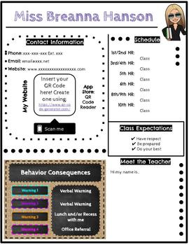 Open House or Parent Teacher Conferences Letter Editable Template