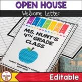 Open House Meet the Teacher Back to School Letter Pamphlet | Editable