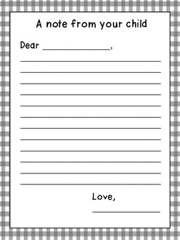 Open House Letter Writing Activity