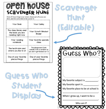 Open House Letters, Scavenger Hunt, and Student Display