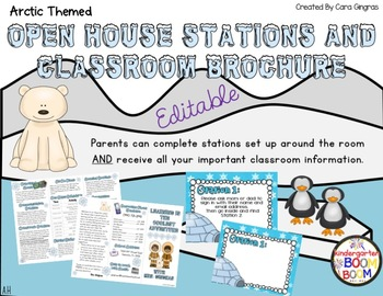 Open House / Meet The Teacher Stations and Brochure - Arctic Theme