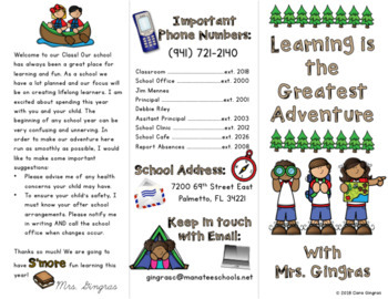 Open House / Meet The Teacher Stations and Brochure - Camping Theme