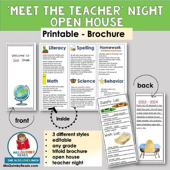meet the teacher brochure open house template editable - Meet The Teacher Brochure Template