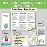 Meet the Teacher | Brochure | Open House | Template  [Editable]