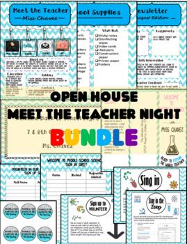 Open House/Meet the Teacher Bundle (Blue Chevron Style)