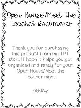 Open House/Meet the Teacher Documents