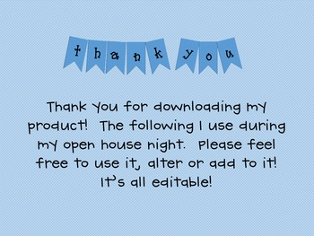 Open House/Meet the Teacher Editable Powerpoint Slideshow