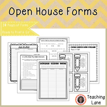Meet the Teacher Open House Forms