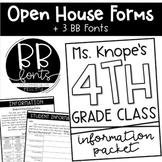 Open House/Meet the Teacher Forms + 3 BB Fonts
