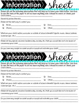 Open House/Meet the Teacher Forms