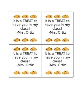 Open House/ Meet the Teacher Gift Tag (It's a Treat To Have You In My Class)