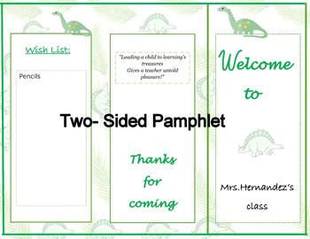 Open House | Meet the teacher  Pamphlet | Dinosaur theme | Editable