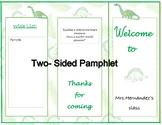 Open House | Meet the teacher  Pamphlet | Dinosaur theme | Editable