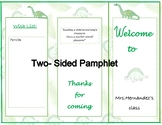 Open House | Meet the teacher  Pamphlet | Dinosaur theme |