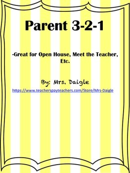 Open House Parent 3-2-1