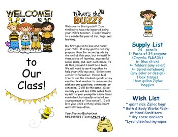 Open House Parent Brochure EDITABLE Bees