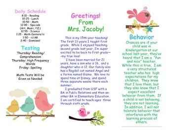 Open House Parent Brochure EDITABLE Boho Birds