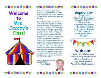 Open House Parent Brochure EDITABLE Carnival Fair