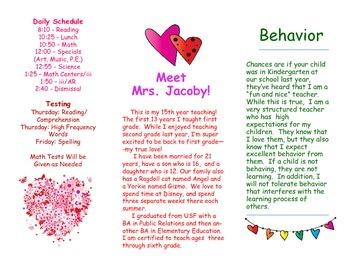 Open House Parent Brochure EDITABLE Colorful Hearts