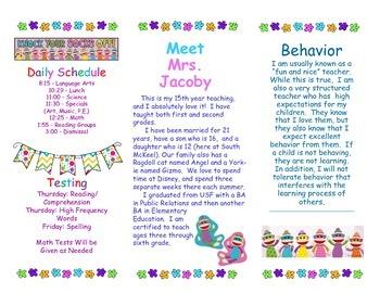 Open House Parent Brochure EDITABLE Colorful Sock Monkeys
