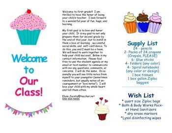 Open House Parent Brochure EDITABLE Cupcakes