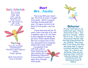 Open House Parent Brochure EDITABLE Dragonflies
