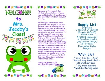 Open House Parent Brochure EDITABLE Frogs