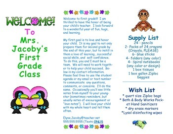 Open House Parent Brochure EDITABLE Jungle