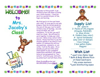 Open House Parent Brochure EDITABLE Jungle Monkey