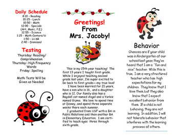 Open House Parent Brochure EDITABLE Ladybugs