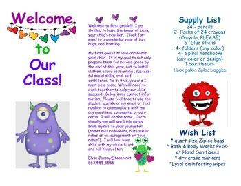 Open House Parent Brochure EDITABLE Monsters