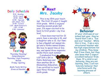 Open House Parent Brochure EDITABLE Patriotic USA American