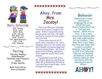 Open House Parent Brochure EDITABLE Pirates