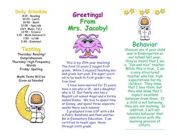 Open House Parent Brochure EDITABLE Space Astronauts