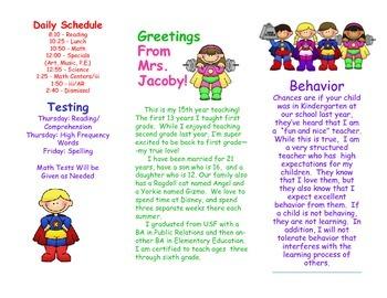 Open House Parent Brochure EDITABLE Superheroes Heroes