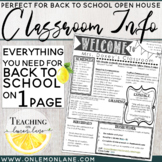 Open House Parent Classroom Information / Meet The Teacher * Editable