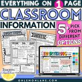 Open House Parent Classroom Information / Meet The Teacher * Editable