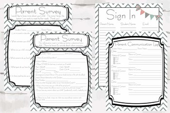 Open House/Parent Communication Forms, Back to School Night, Know your Students