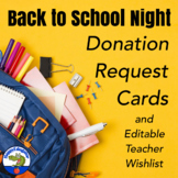 Back to School Open House Donation Request Cards