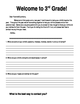 Back to School Welcome Parent Letter *Editable*
