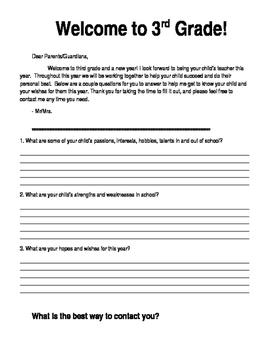 Open House / Parent Letter