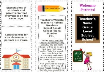Open House/Parent Night Class Information Brochure