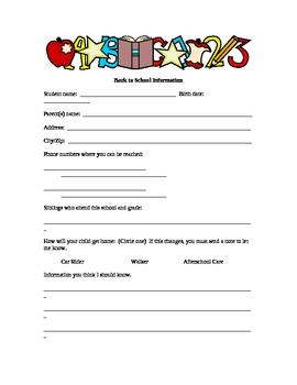 Open House/ Parent Orientation Items