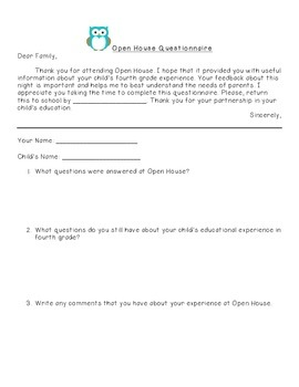 Open House Parent Questionnaire