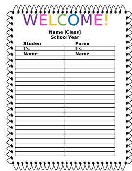 Open House Parent Sign In Sheet
