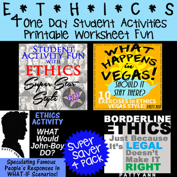 ETHICS 4-Pack > 4 One Day Student Activities in Fun Printable Worksheets!