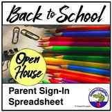 Open House Parent Sign In Sheet Spreadsheet EDITABLE