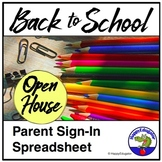 Open House Parent Sign In Sheet Spreadsheet EDITABLE w/ Classroom Signs