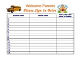 Open House Parent Sign In